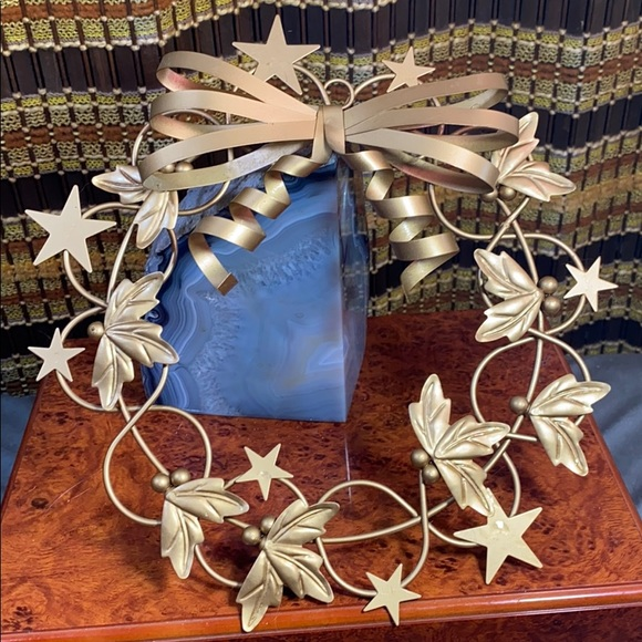 Vintage Gold Metal Star Bow Holly Wreath Holiday